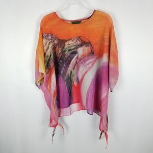 Jade top oversized dolman sleeve abstract size S/M